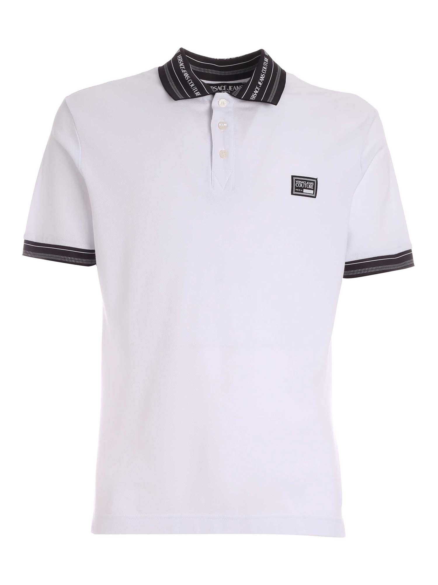 Versace Jeans Couture LETTERING LOGO DETAIL POLO SHIRT IN WHITE