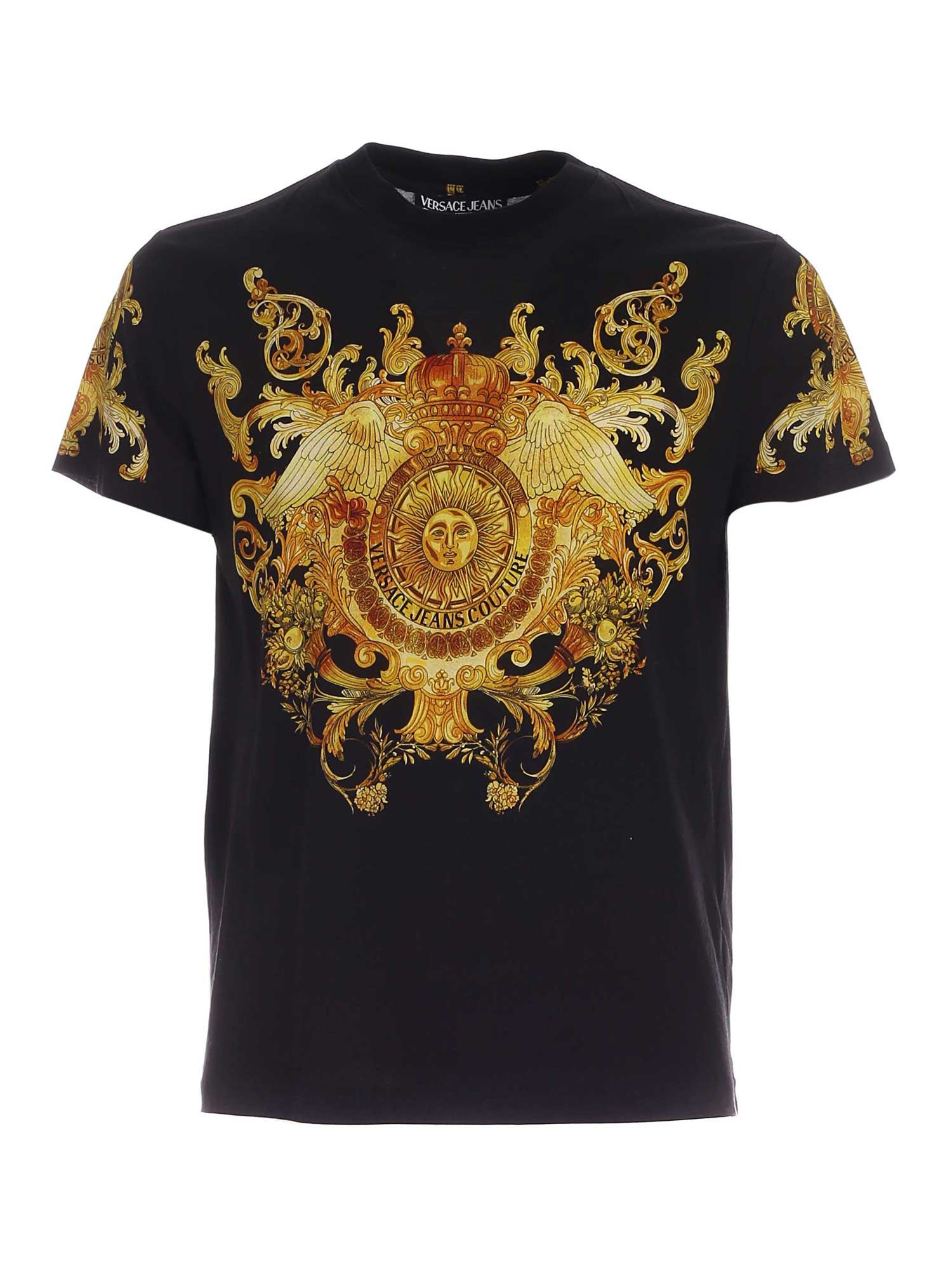 Versace Jeans Couture ROCOCO PATTERN T-SHIRT IN BLACK