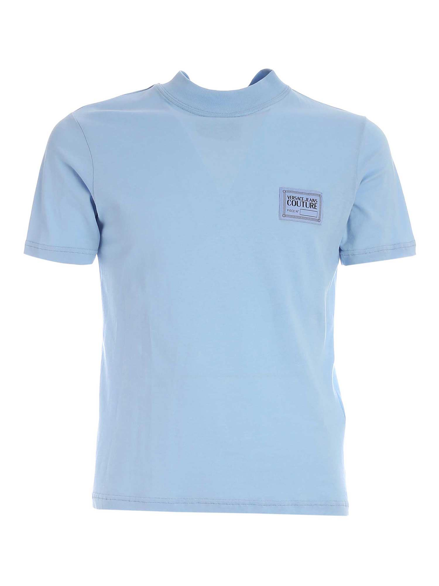 Versace Jeans Couture Cottons LOGO PATCH T-SHIRT IN LIGHT BLUE