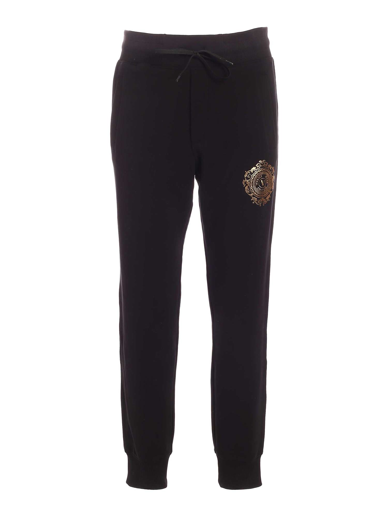 Versace Jeans Couture RUBBERIZED V-EMBLEM JOGGERS IN BLACK