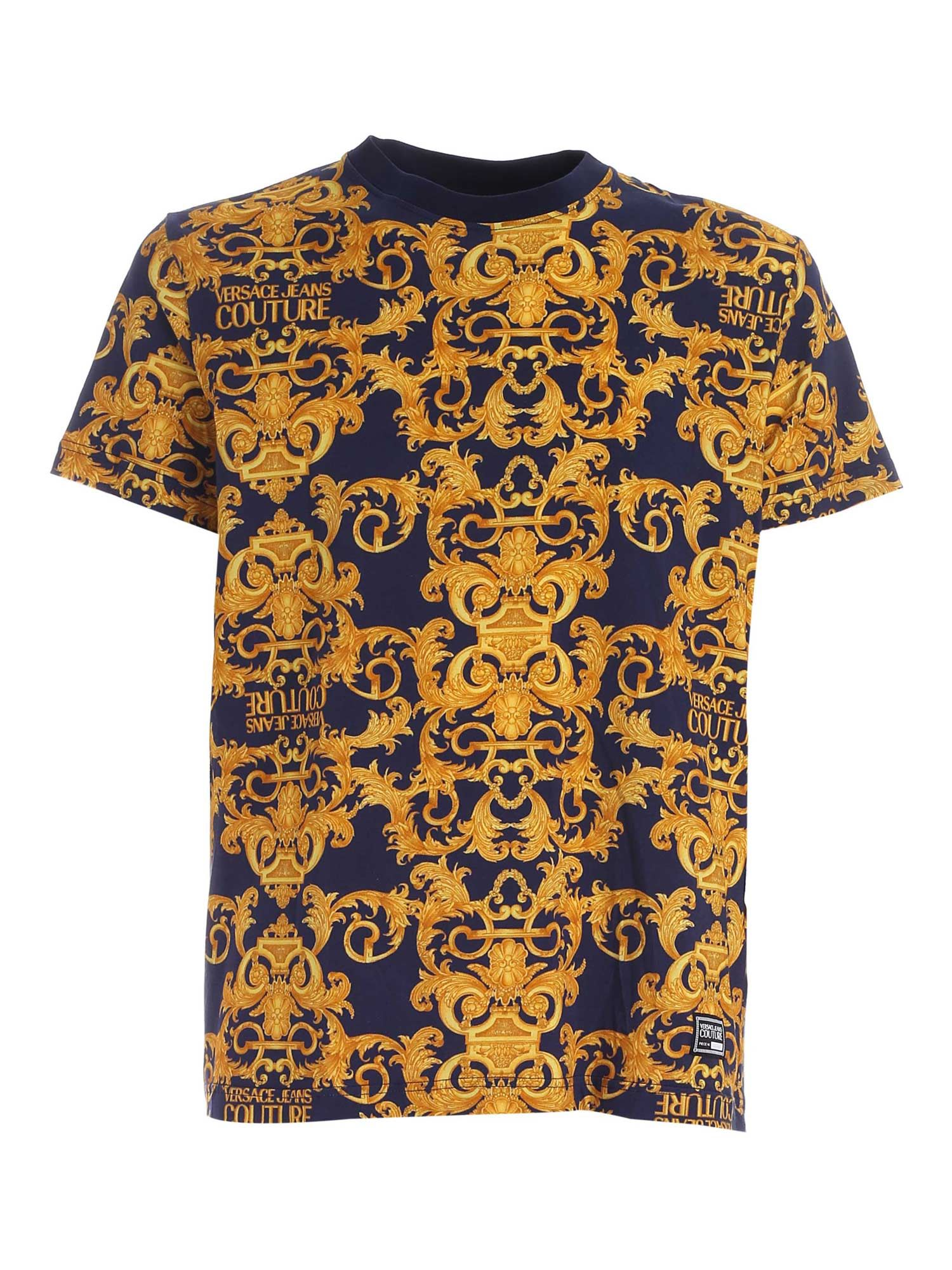 Versace Jeans Couture LOGO BAROQUE PRINT T-SHIRT IN BLUE