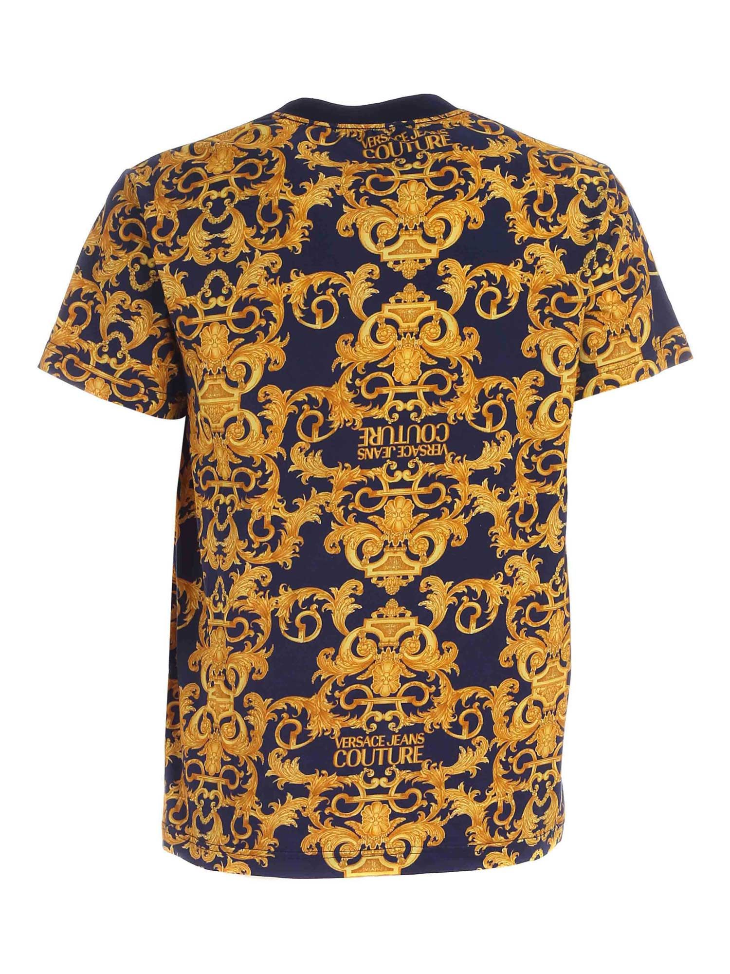VERSACE JEANS COUTURE Cottons LOGO BAROQUE PRINT T-SHIRT IN BLUE