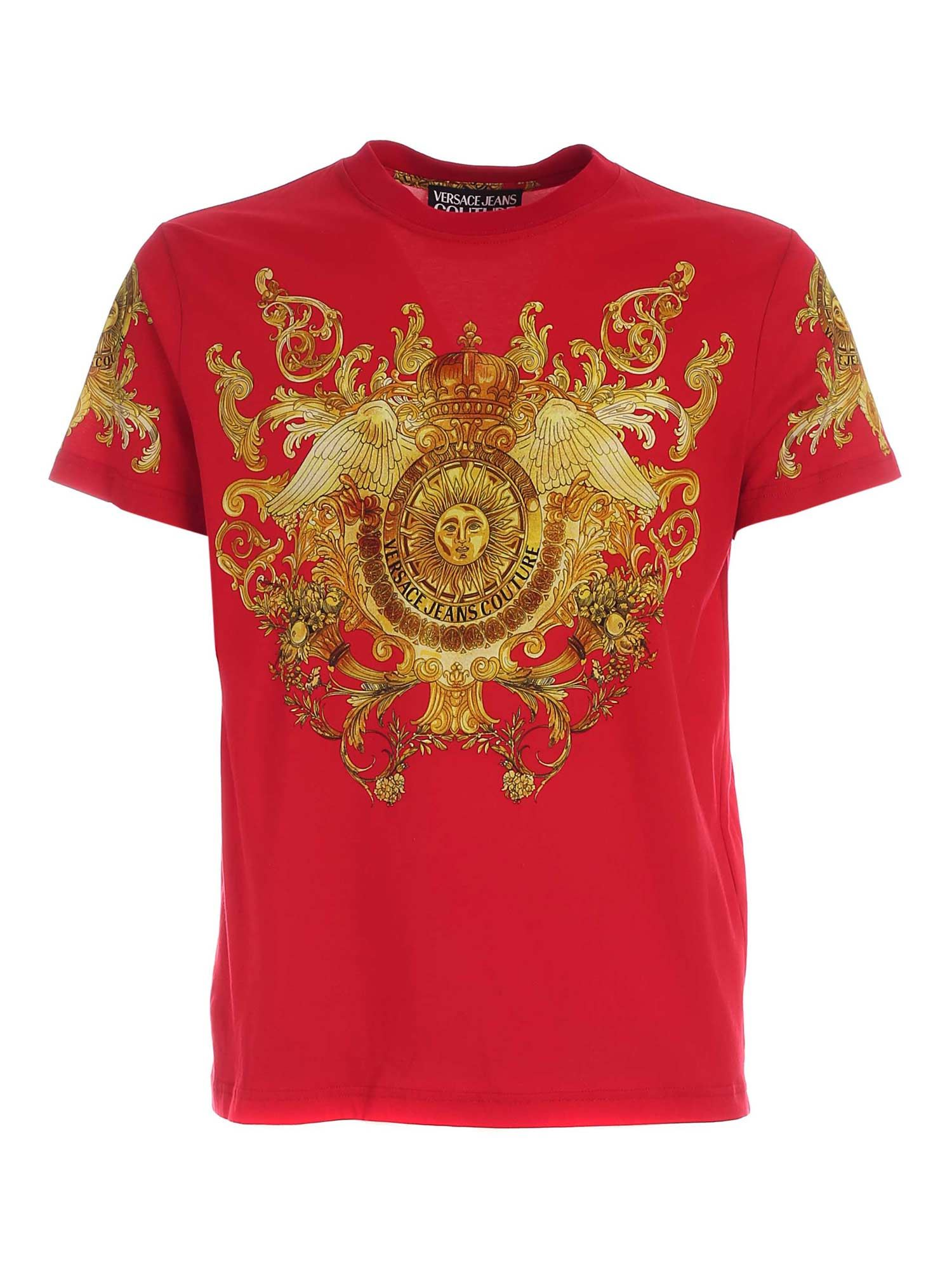 Versace Jeans Couture ROCOCO PATTERN T-SHIRT IN RED