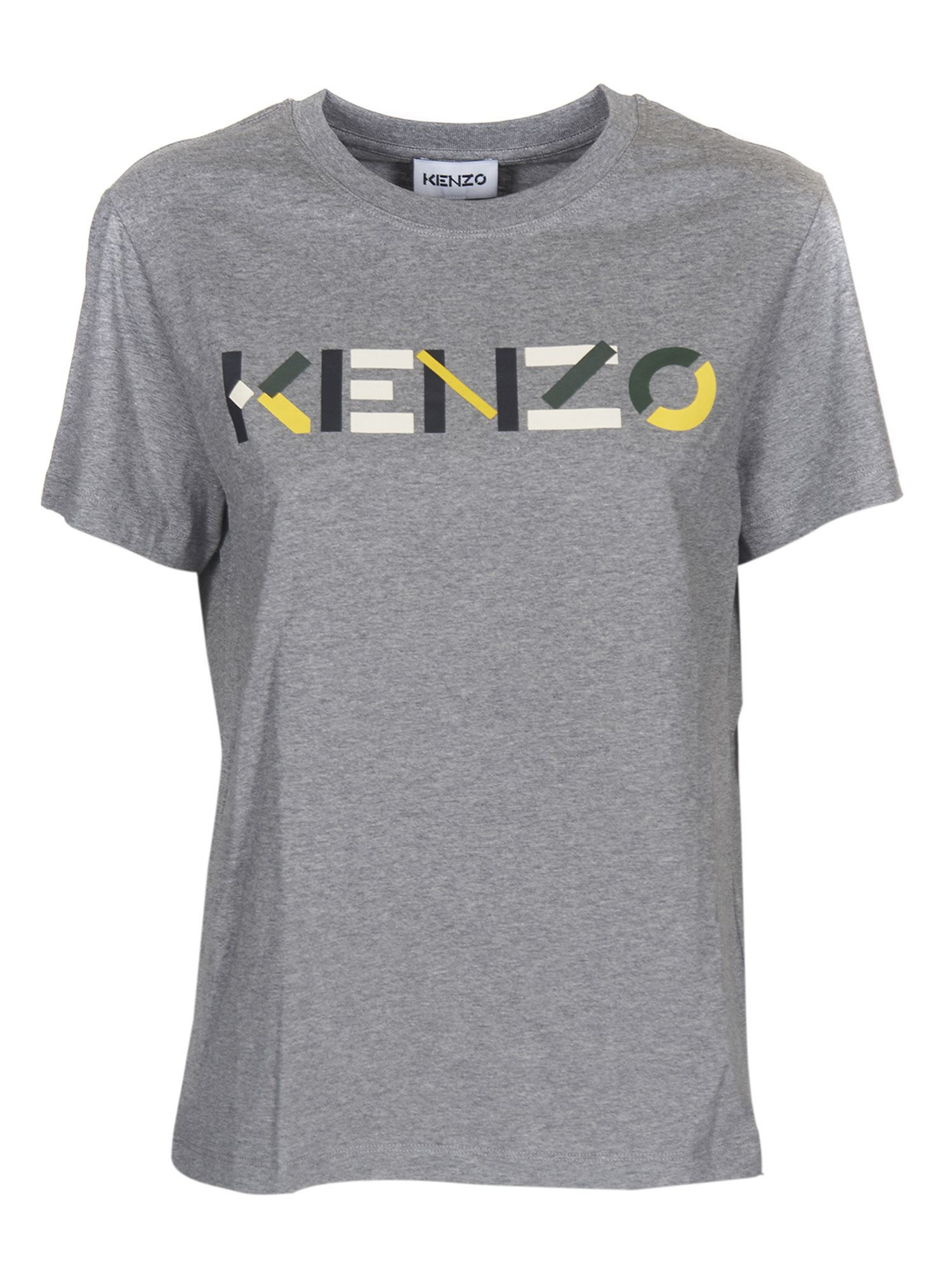 Kenzo MULTICOLOR LOGO T-SHIRT IN GRAY