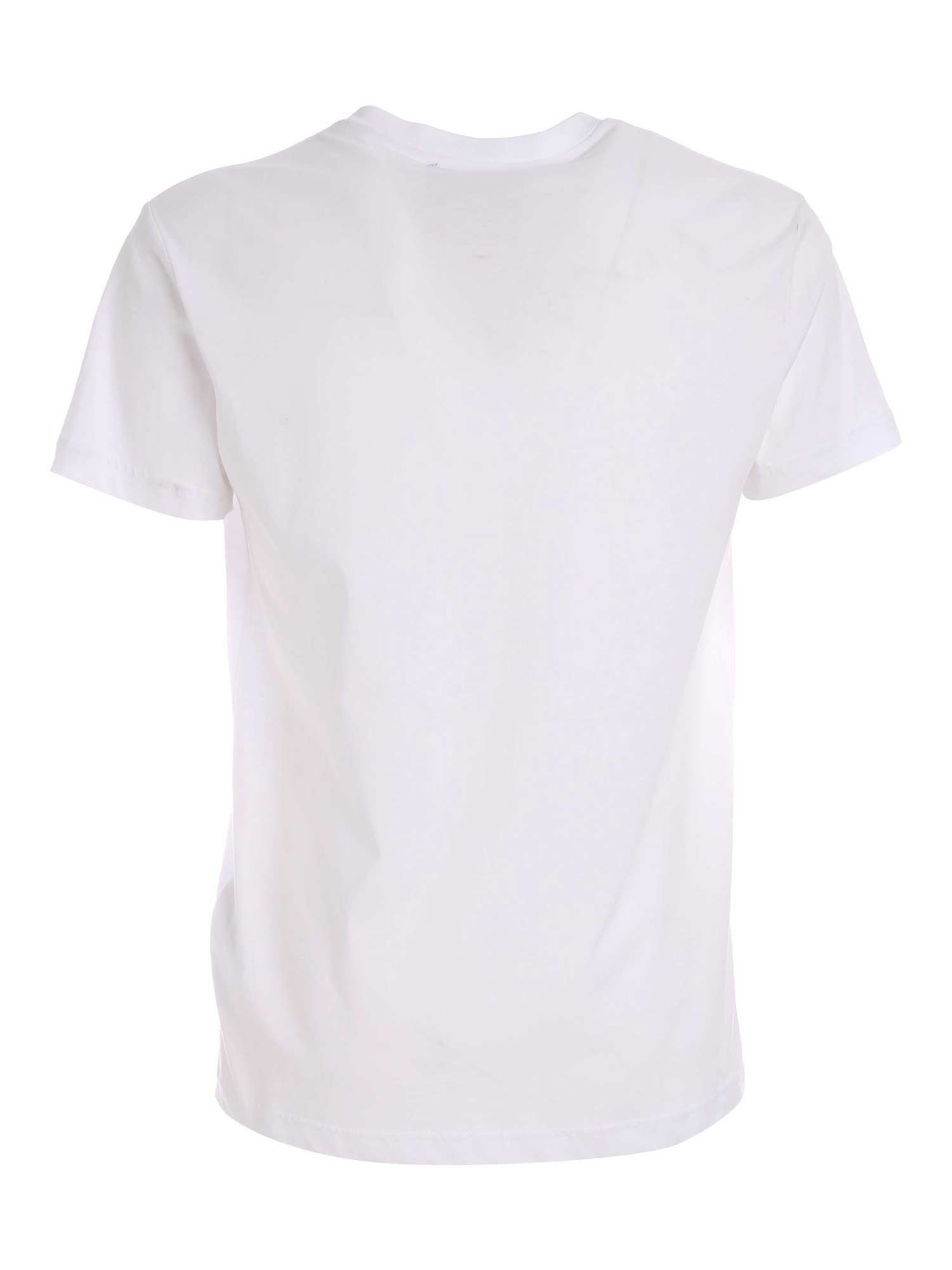 VERSACE JEANS COUTURE Cottons LETTERING LOGO T-SHIRT IN WHITE