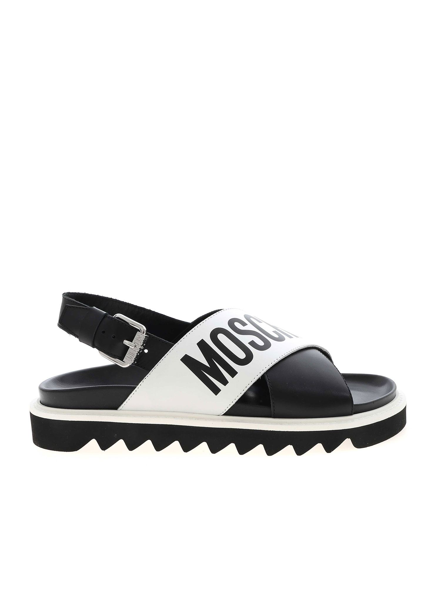 Moschino CROSSED SANDALS IN BLACK AND WHITE