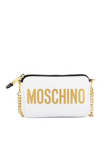Moschino - Logo lettering leather bag in white