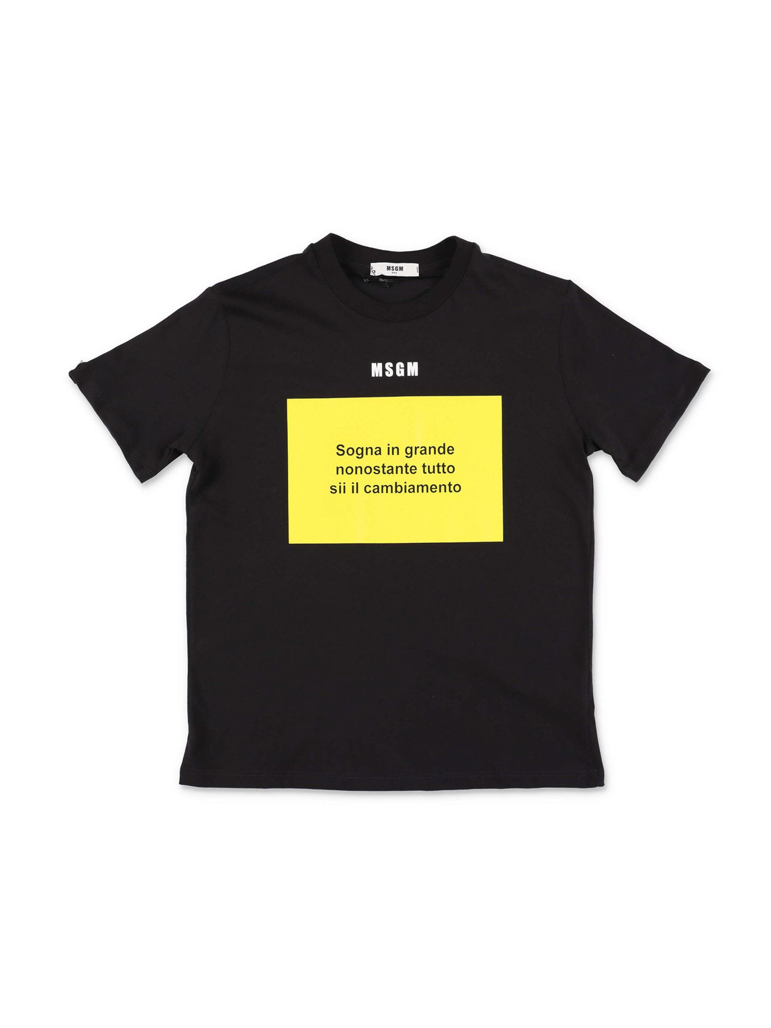 Msgm PRINTED T-SHIRT IN BLACK AND YELLOW