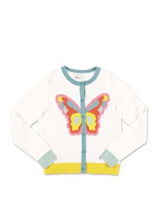 Stella McCartney Kids - White cardigan with inlay