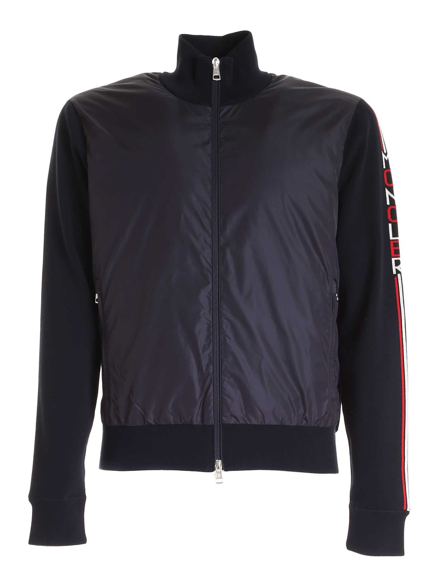 Moncler PADDED TRICOT CARDIGAN IN BLUE