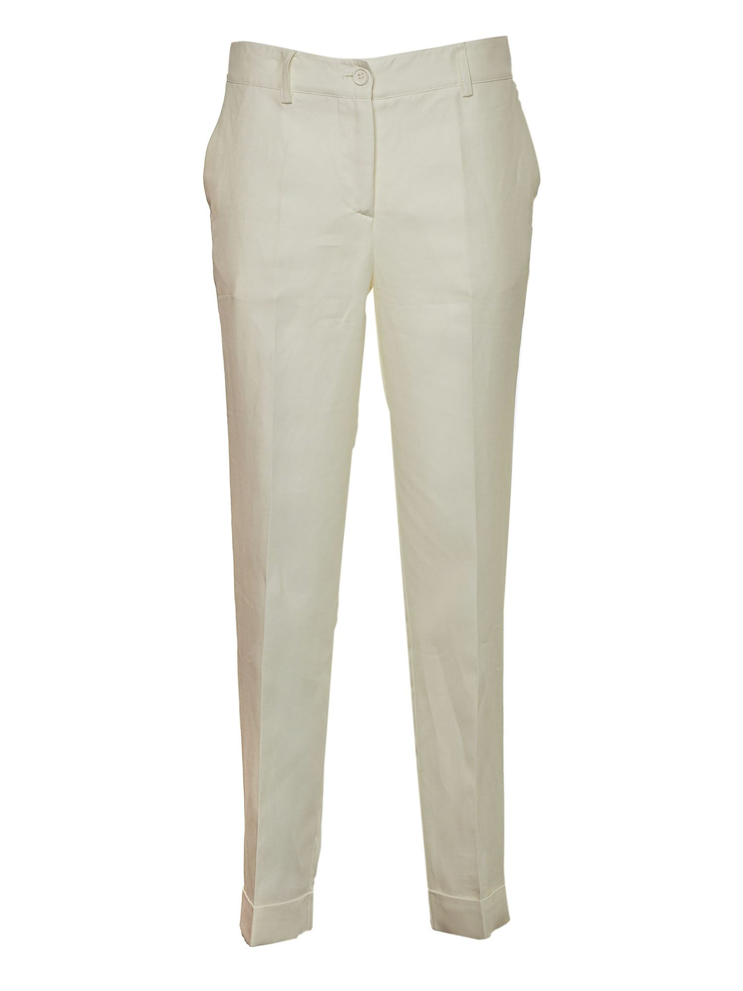 P.a.r.o.s.h. SLIM TROUSERS IN CREAM COLOR
