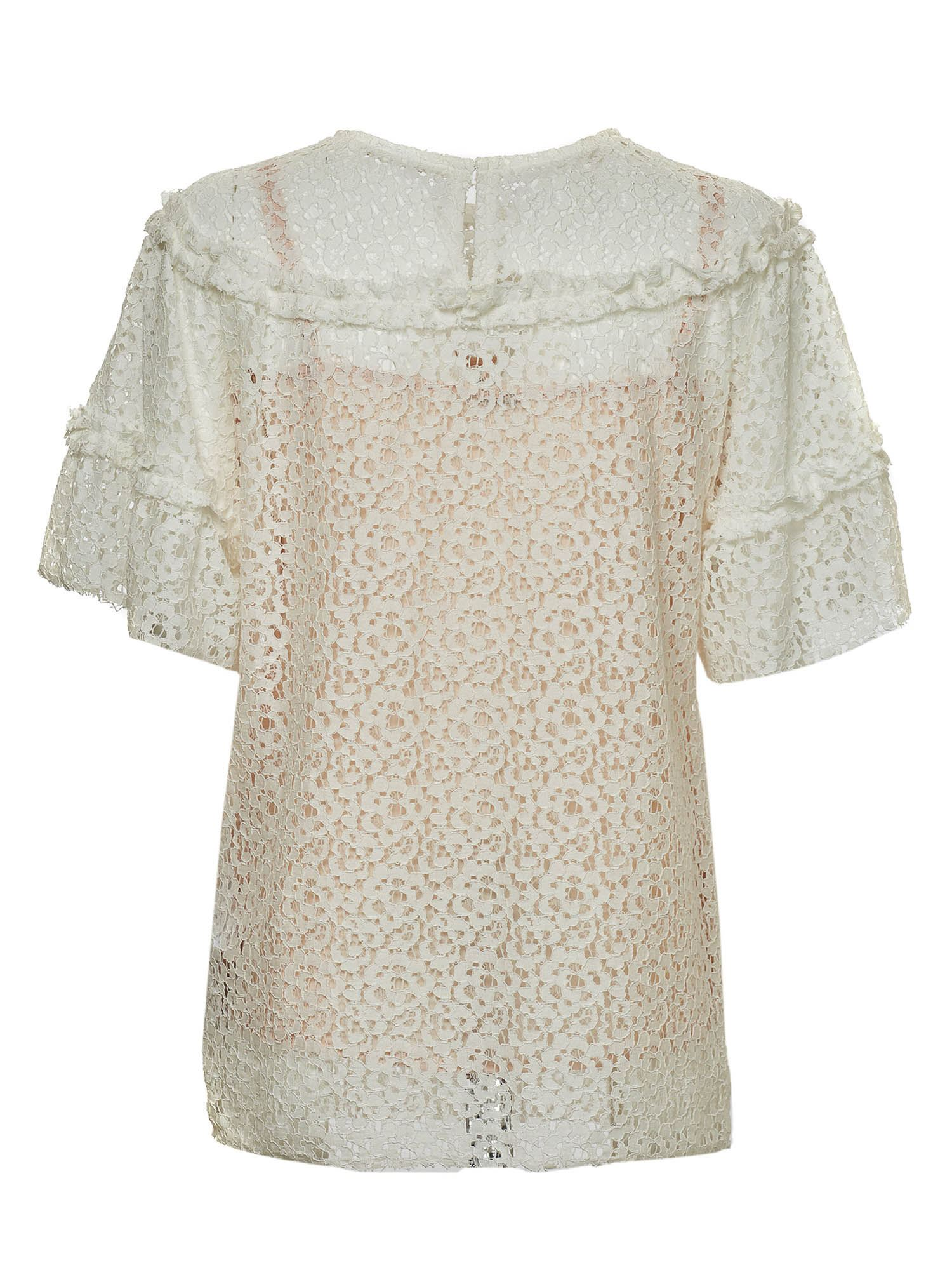 P.A.R.O.S.H. Cottons LACE TOP IN WHITE