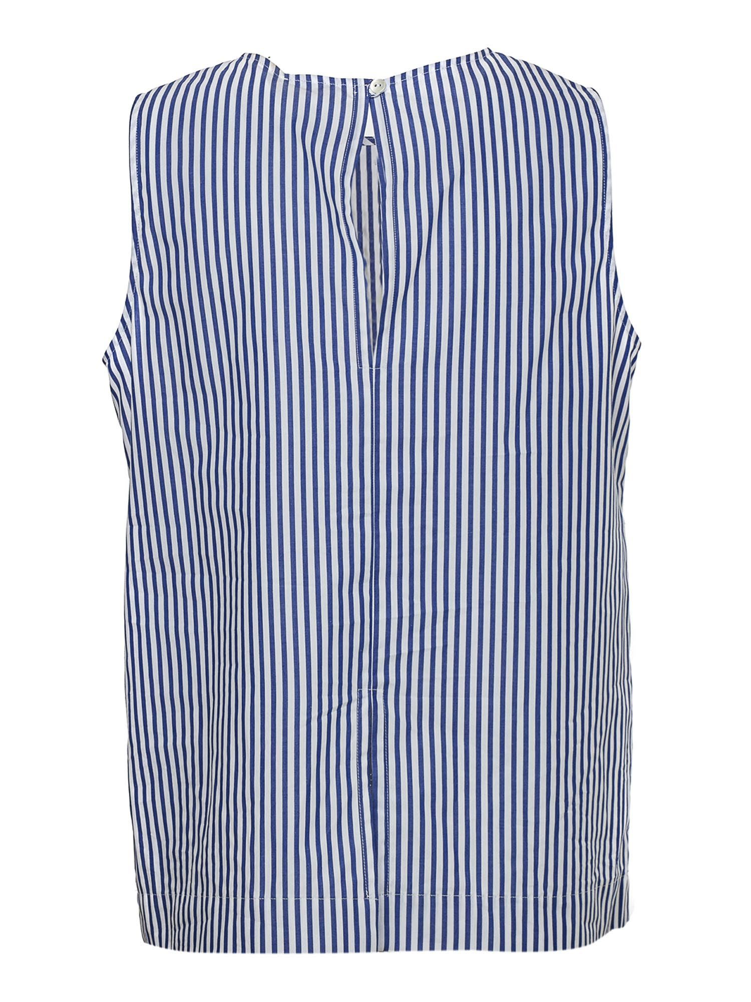 P.A.R.O.S.H. Cottons STRIPED COTTON TOP IN BLUE