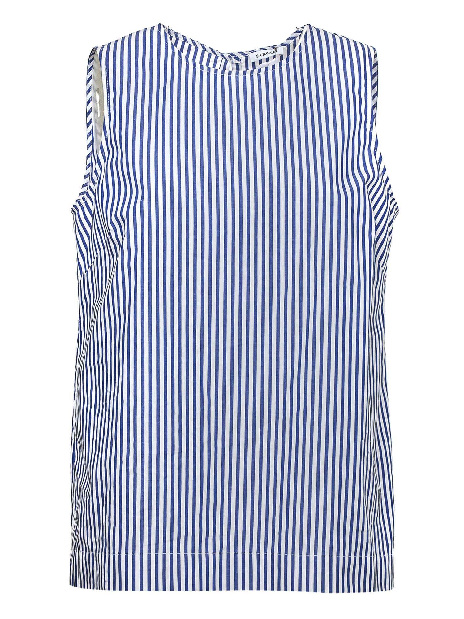 P.a.r.o.s.h. STRIPED COTTON TOP IN BLUE