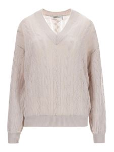 Agnona - Cable-knit jumper in pearl grey