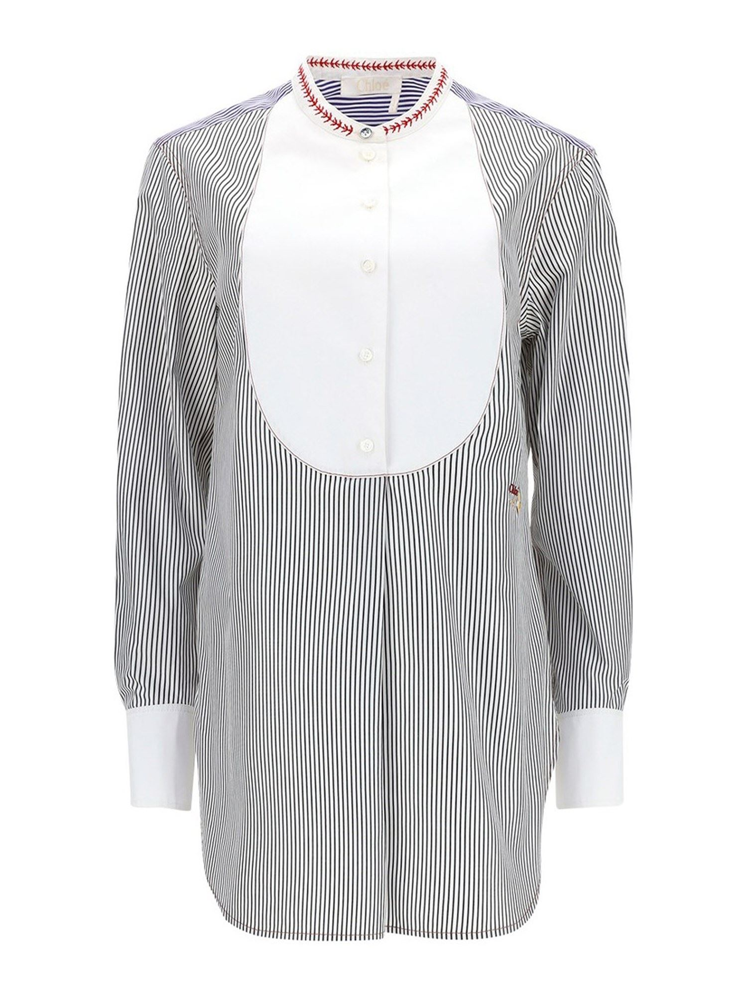 Chloé CONTRASTING BIB STRIPED SHIRT IN BLUE