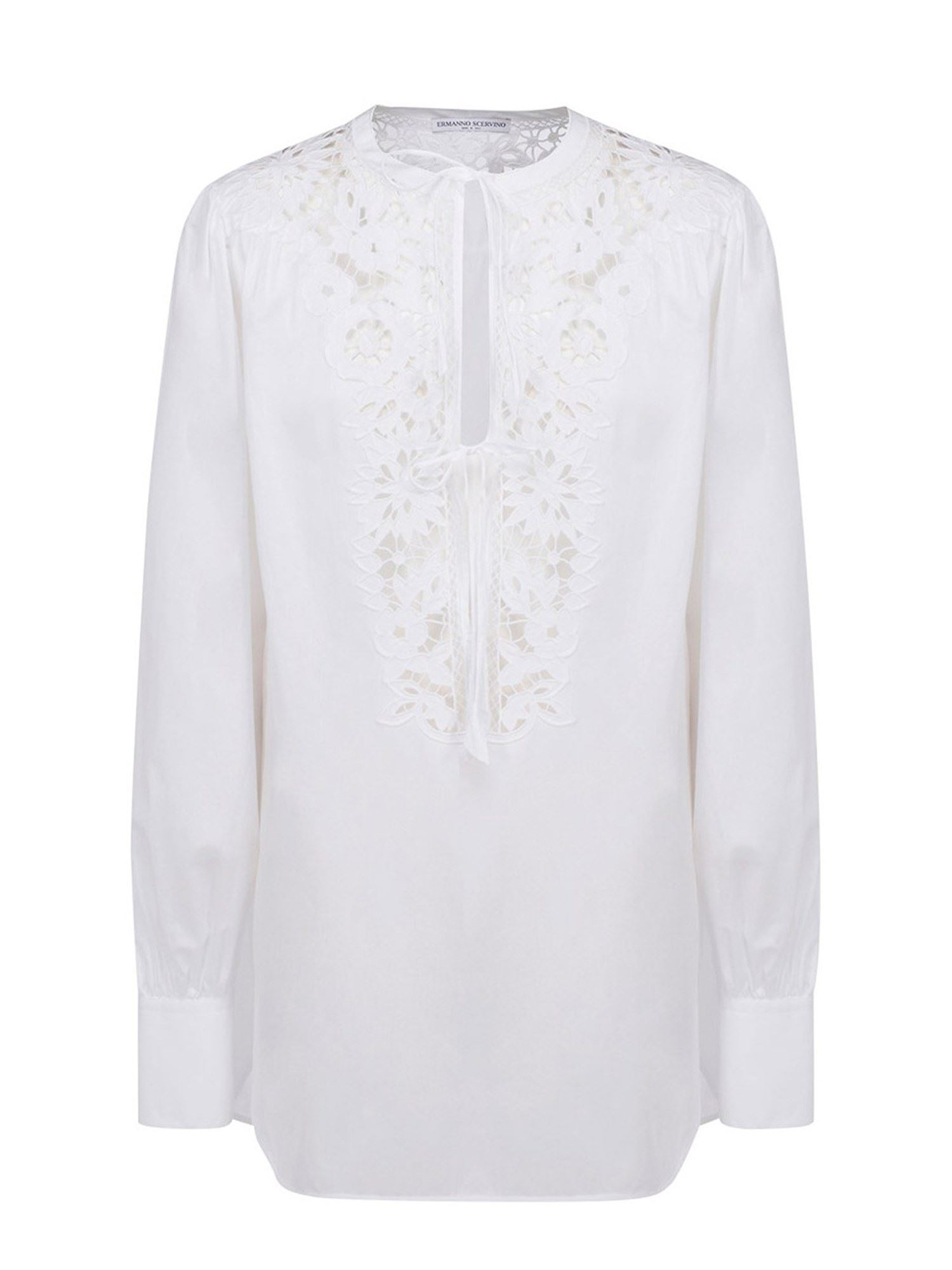 Ermanno Scervino Cottons BRODERIE ANGLAISE FRONT BLOUSE IN WHITE