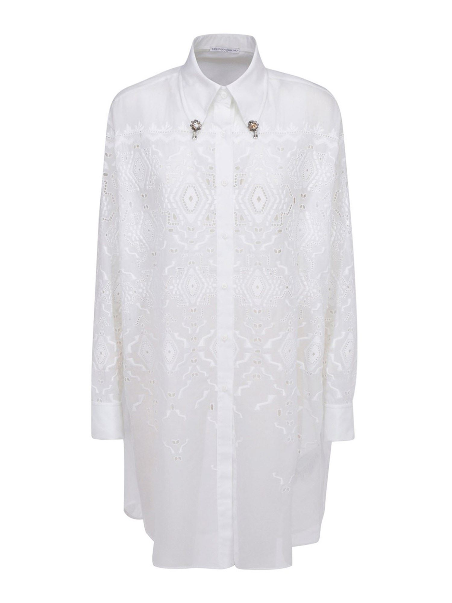 Ermanno Scervino Downs LACE SHIRT DRESS IN WHITE