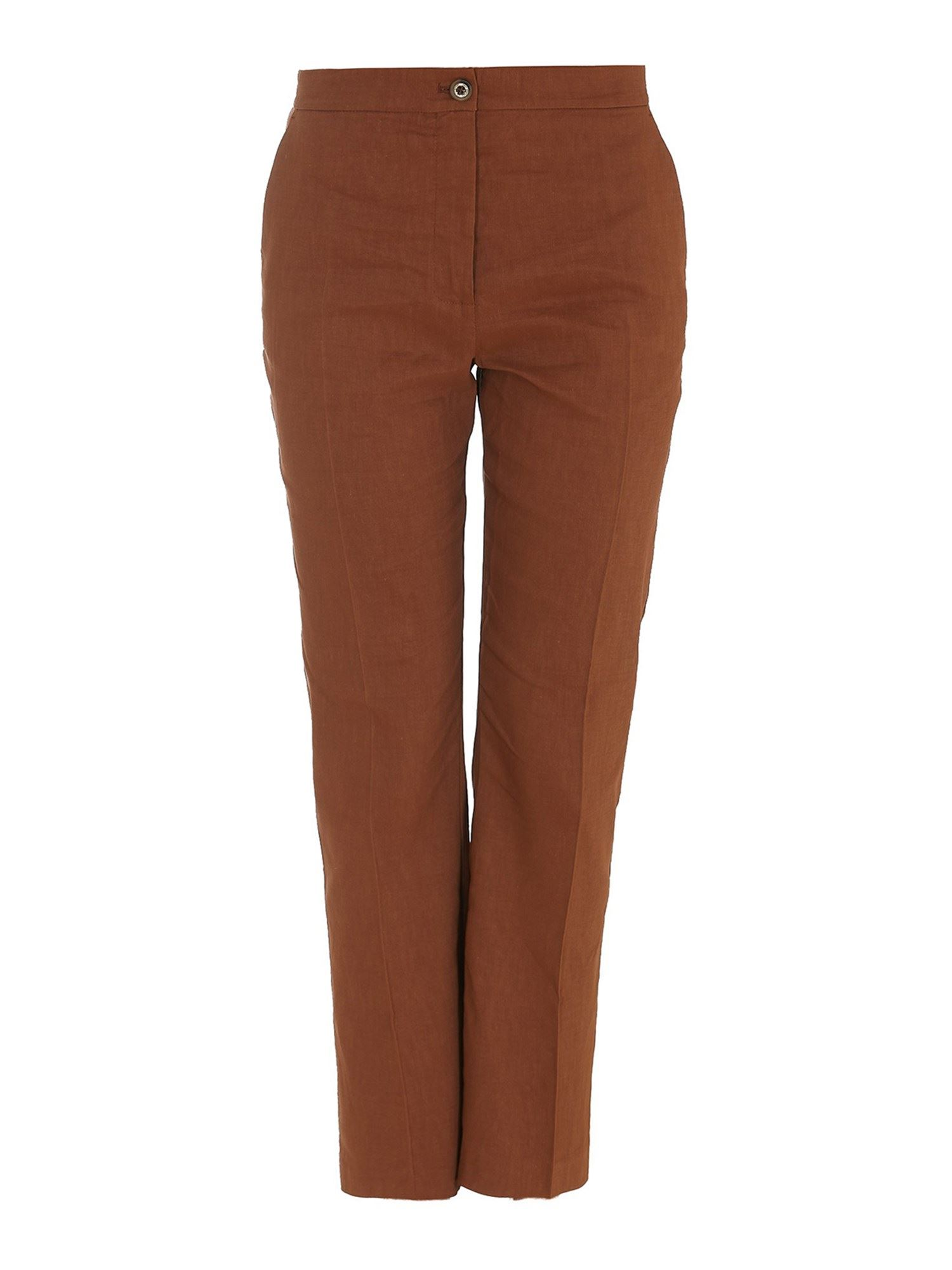 Pinko Linens PINKO SOLO LINEN BLEND TROUSERS IN BROWN