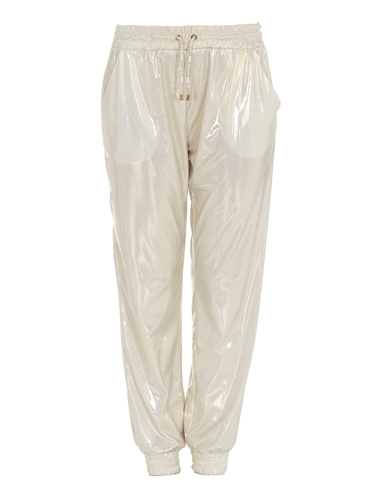 Pinko Pants PINKO LAMINATED FABRIC PANTS IN GOLD COLOR