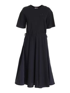 Moncler - Logo embroidery long dress in blue