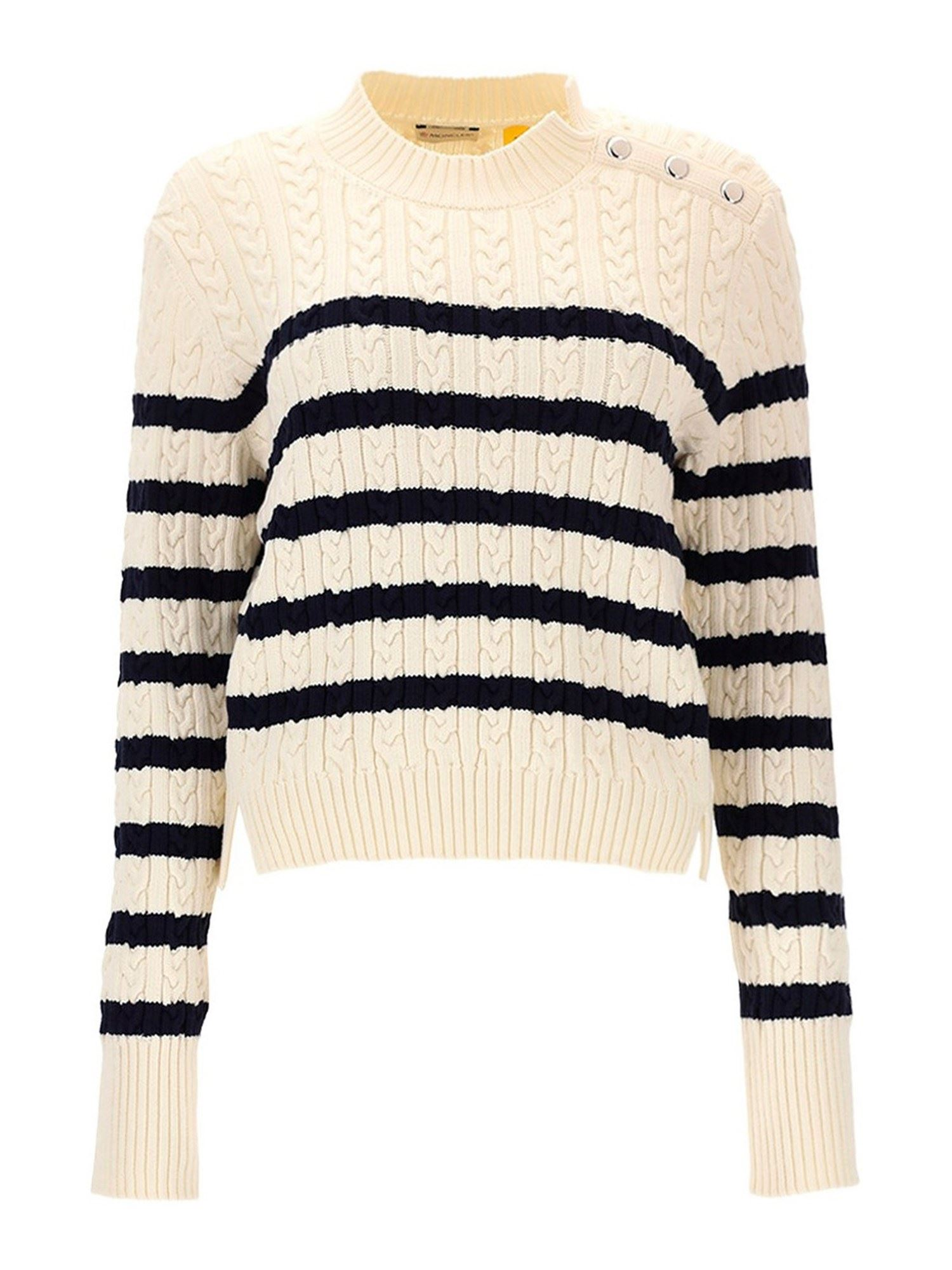 Moncler STRIPED CABLE-KNIT SWEATER IN WHITE