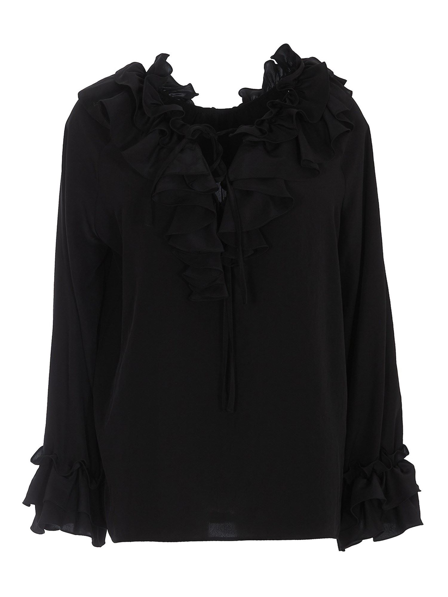 P.a.r.o.s.h. RUFFLE DETAILED BLOUSE IN BLACK