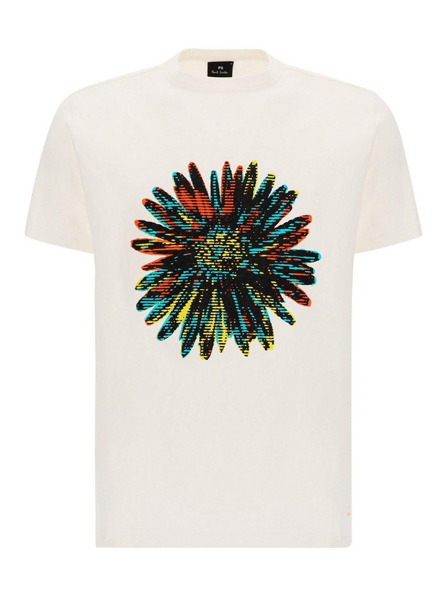 Paul Smith Cottons FLOWER T-SHIRT IN WHITE