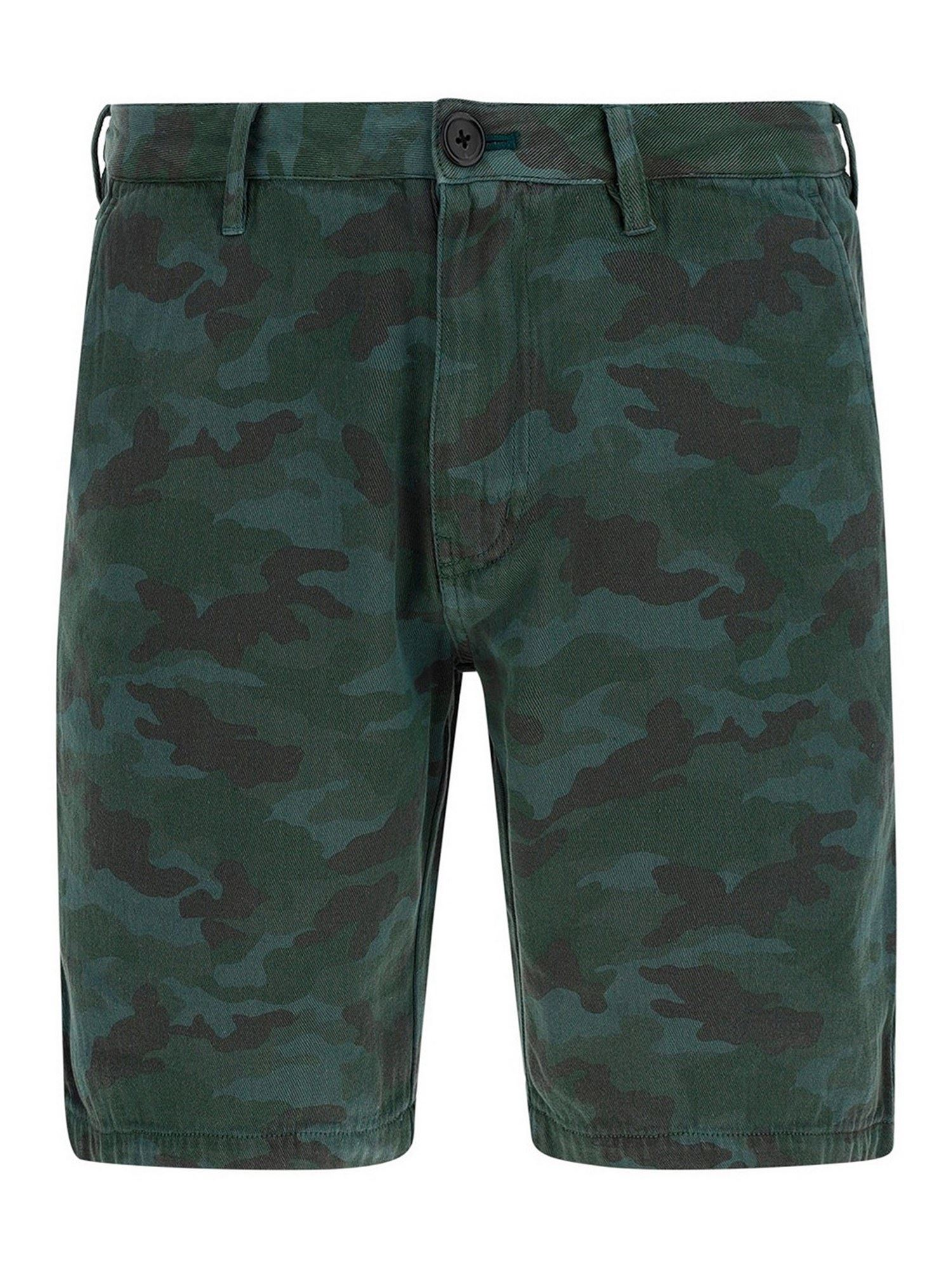 Paul Smith Militarys CAMOUFLAGE COTTON SHORTS IN GREEN