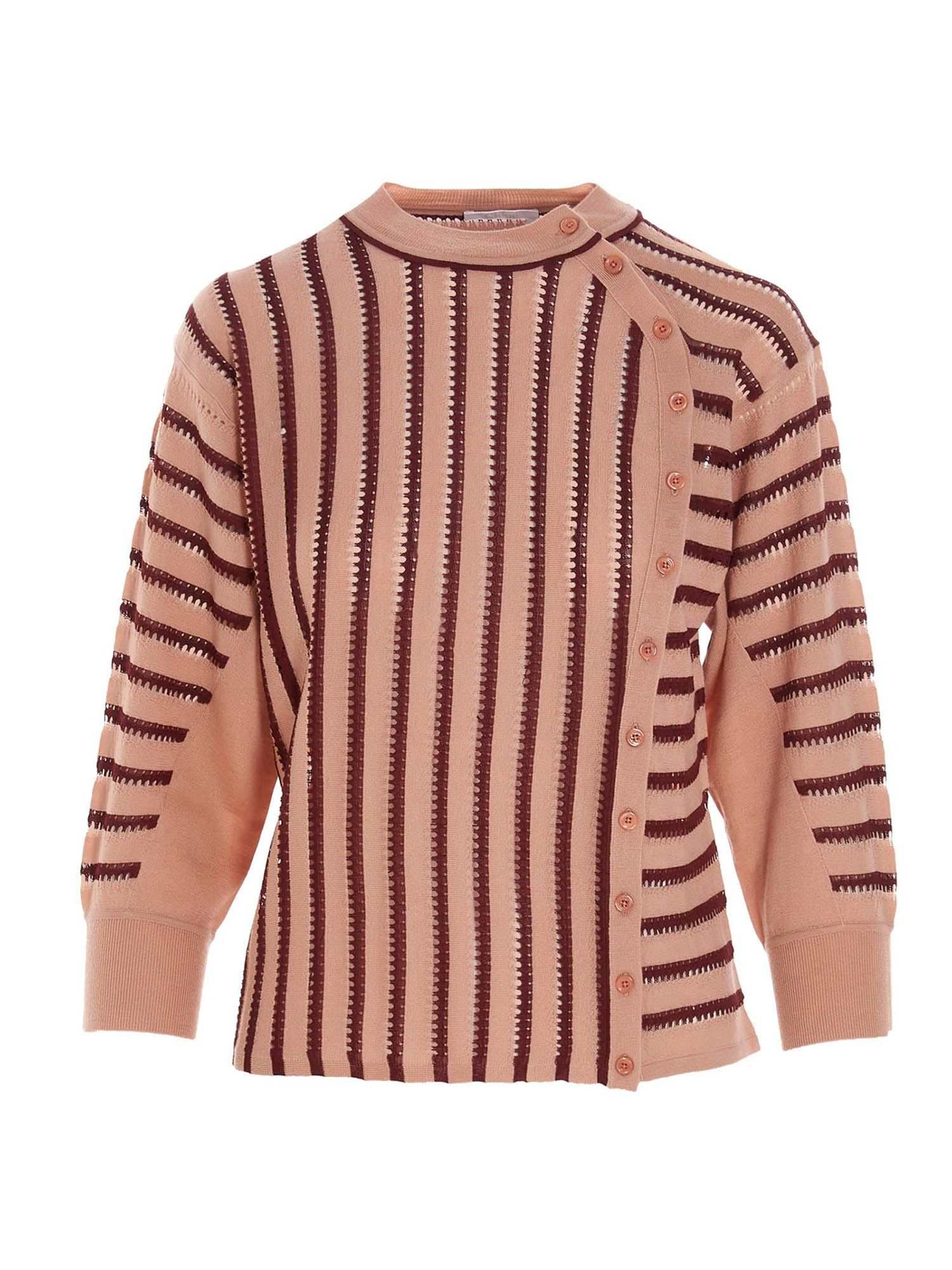Chloé DRILLED CREWNECK SWEATER IN PINK