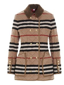 Burberry - Striped quilted jacket in light camel color