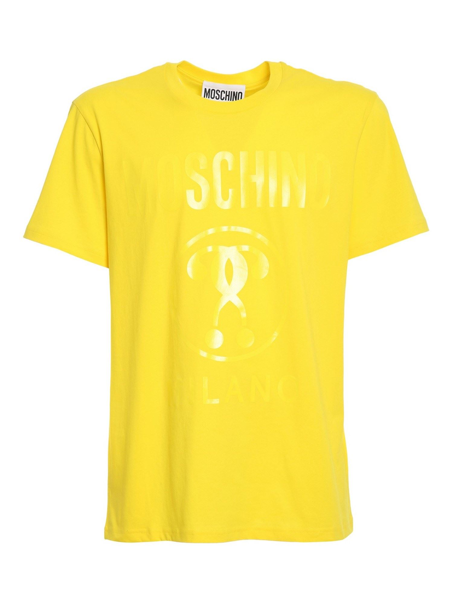 Moschino DOUBLE QUESTION MARK T-SHIRT IN YELLOW