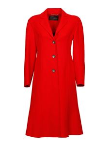Versace - Wool single-breasted coat in red
