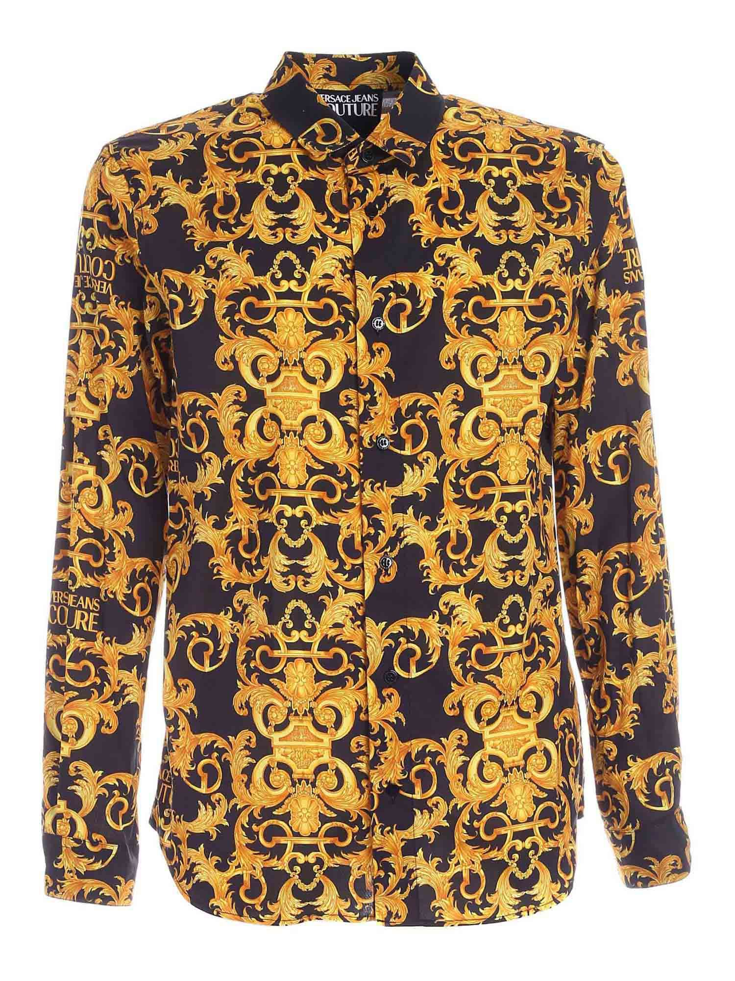 Versace Jeans Couture Clothing BAROQUE PRINT SHIRT IN BLACK
