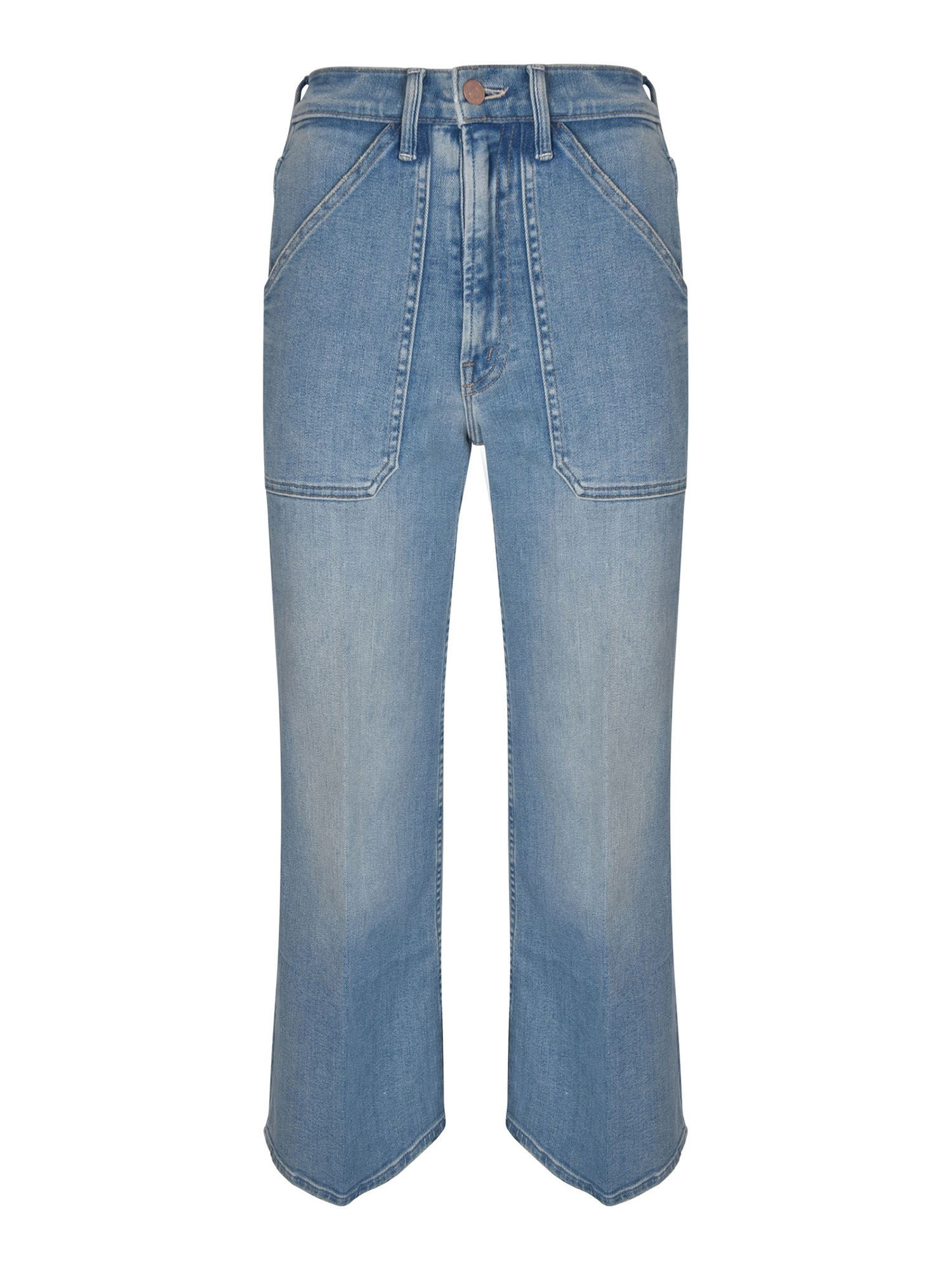 Mother THE PATCH RAMBLER ROLLER ANKLE JEANS IN LIGHT BLUE