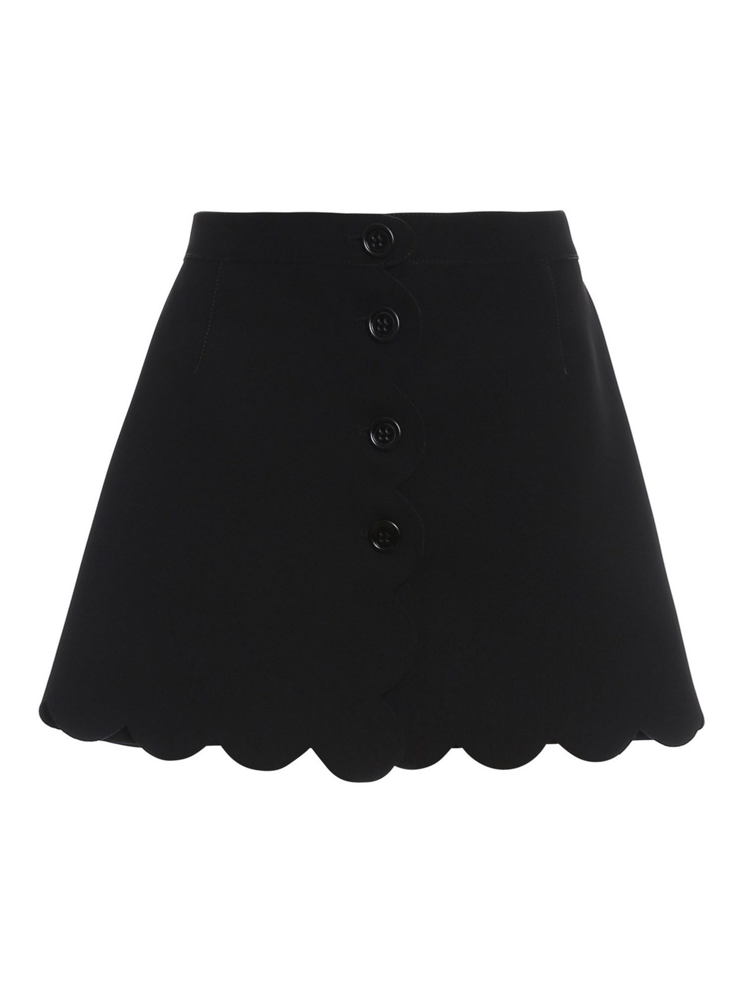 RED VALENTINO TECH FABRIC SCALLOPED SHORTS IN BLACK