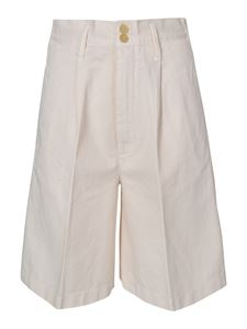 Forte Forte - High-waisted bermuda shorts in ivory color