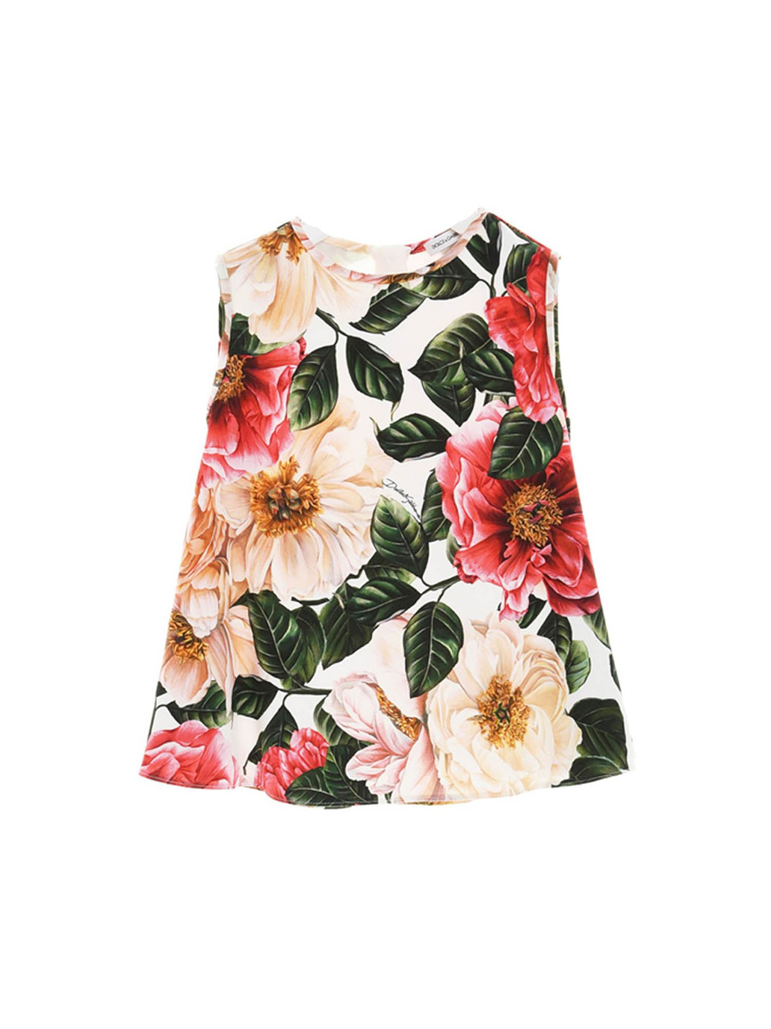 Dolce & Gabbana Jr CAMELLIA PRINT TOP IN MULTICOLOR