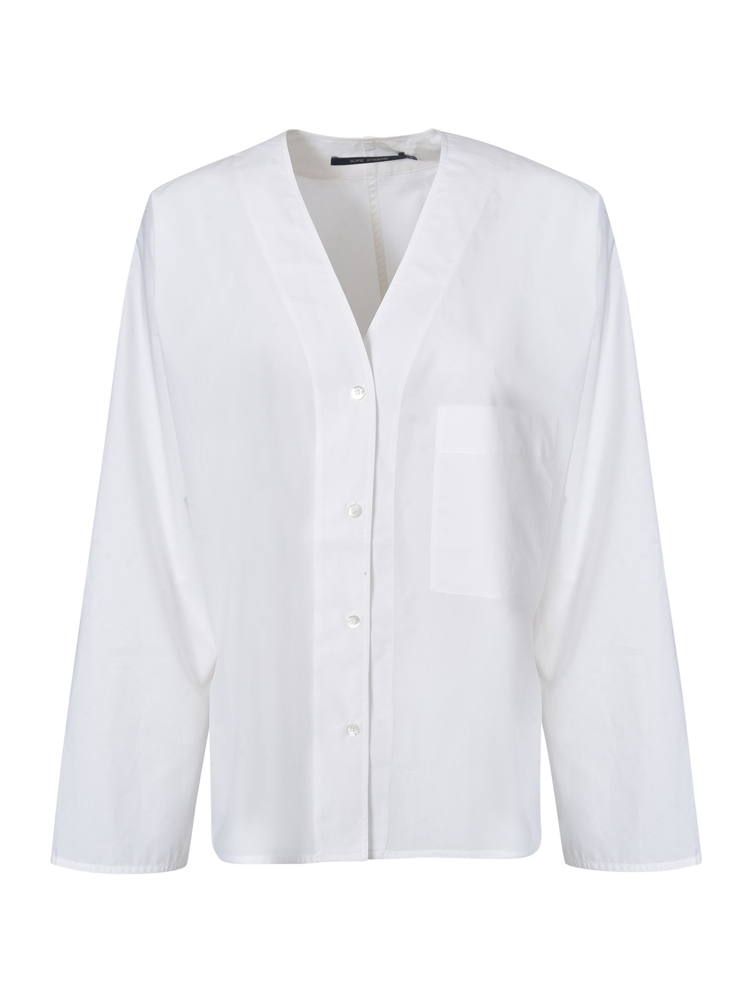 Sofie D'hoore Cottons V-NECK WIDE SLEEVE SHIRT IN WHITE