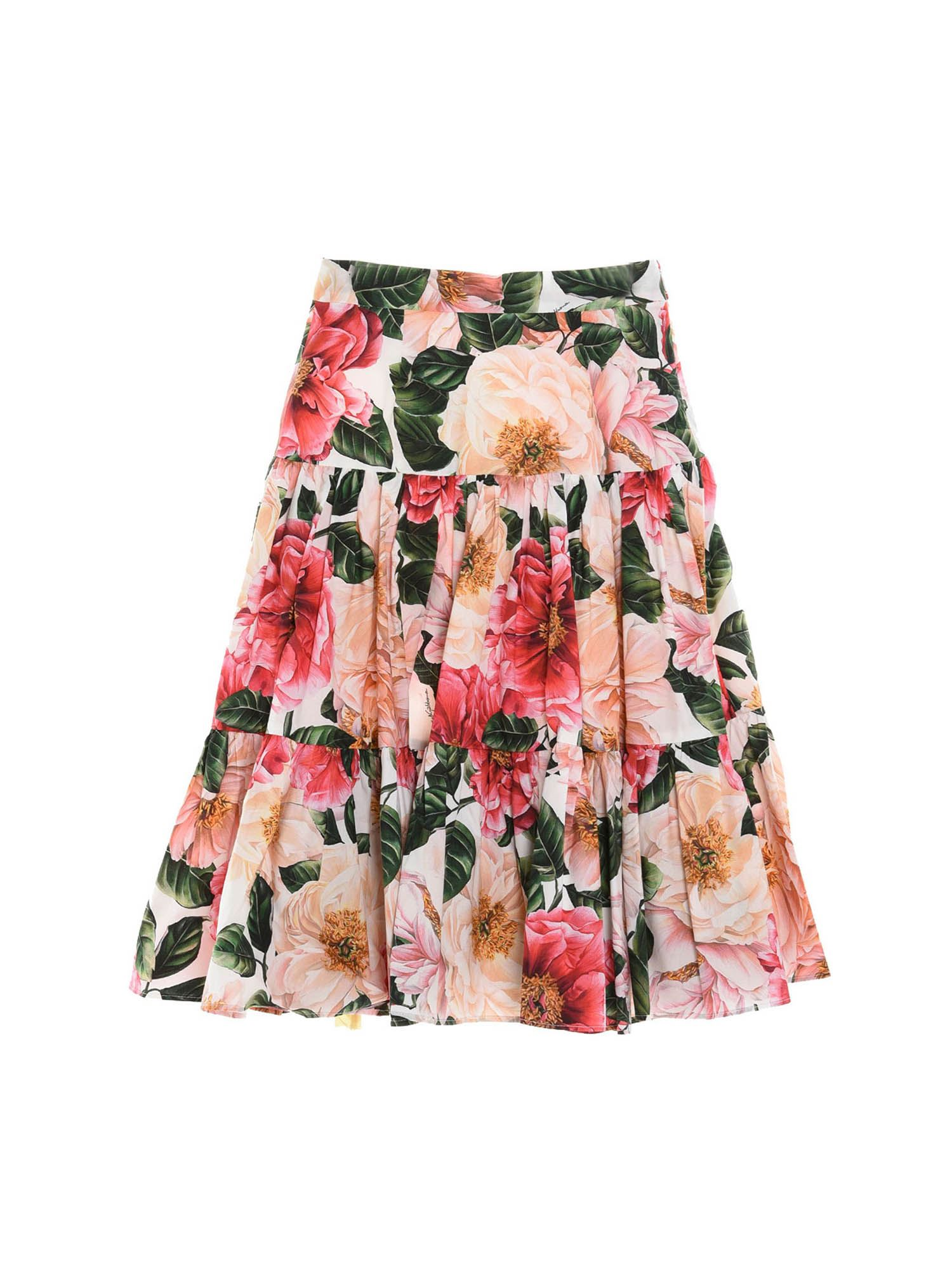 Dolce & Gabbana Jr CAMELLIA PRINT SKIRT IN MULTICOLOR