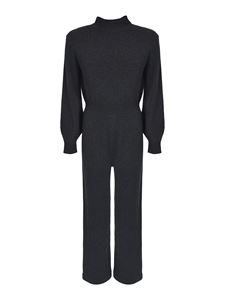 Theory - Turtleneck wool jumpsuit in charcoal color