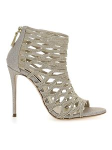 Casadei - Glitter and fabric sandals in gold color