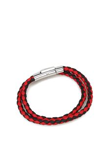 Tod's - Leather double wrap bracelet in black and red
