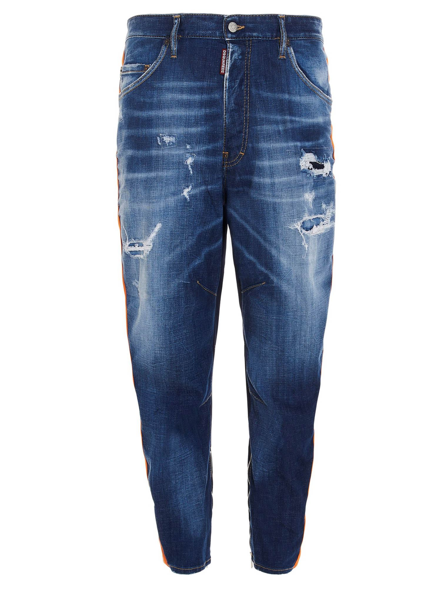 Dsquared2 COMBAT LIGHT WASH JEANS IN BLUE