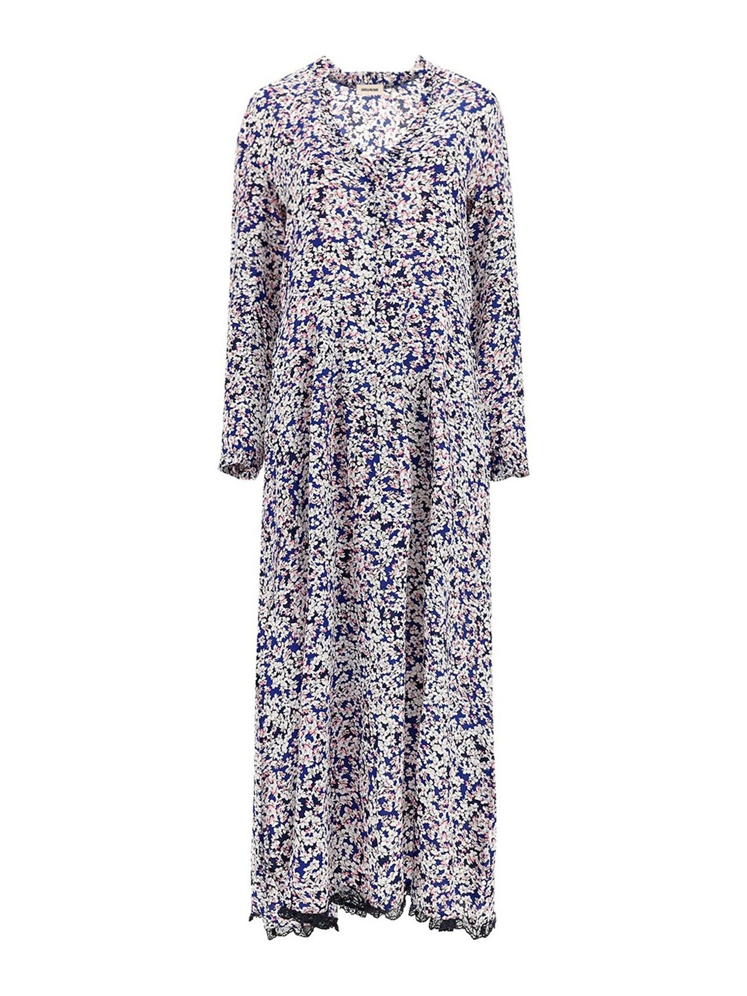 Zadig & Voltaire FLORAL PATTERNED MAXI DRESS IN BLUE