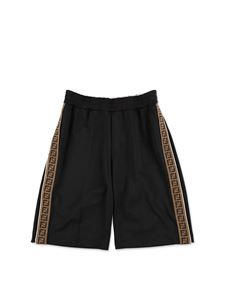 Fendi Kids - Black swim shorts with Zucca bands