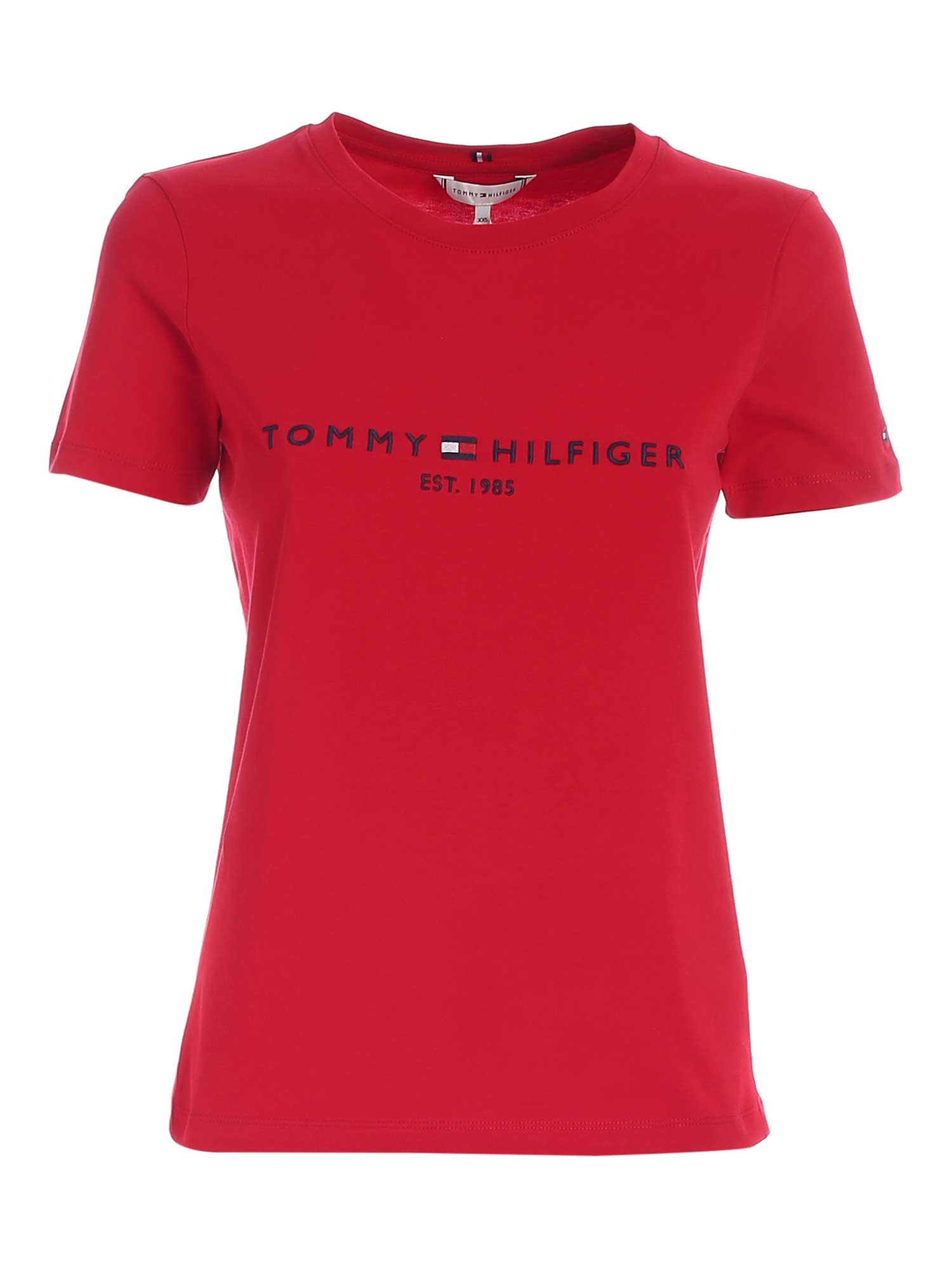 Tommy Hilfiger CONTRASTING EMBROIDERY T-SHIRT IN RED