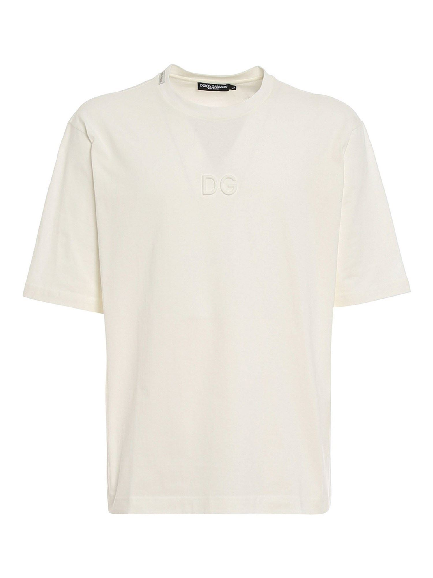 Dolce & Gabbana Cottons EMBOSSED LOGO T-SHIRT IN WHITE