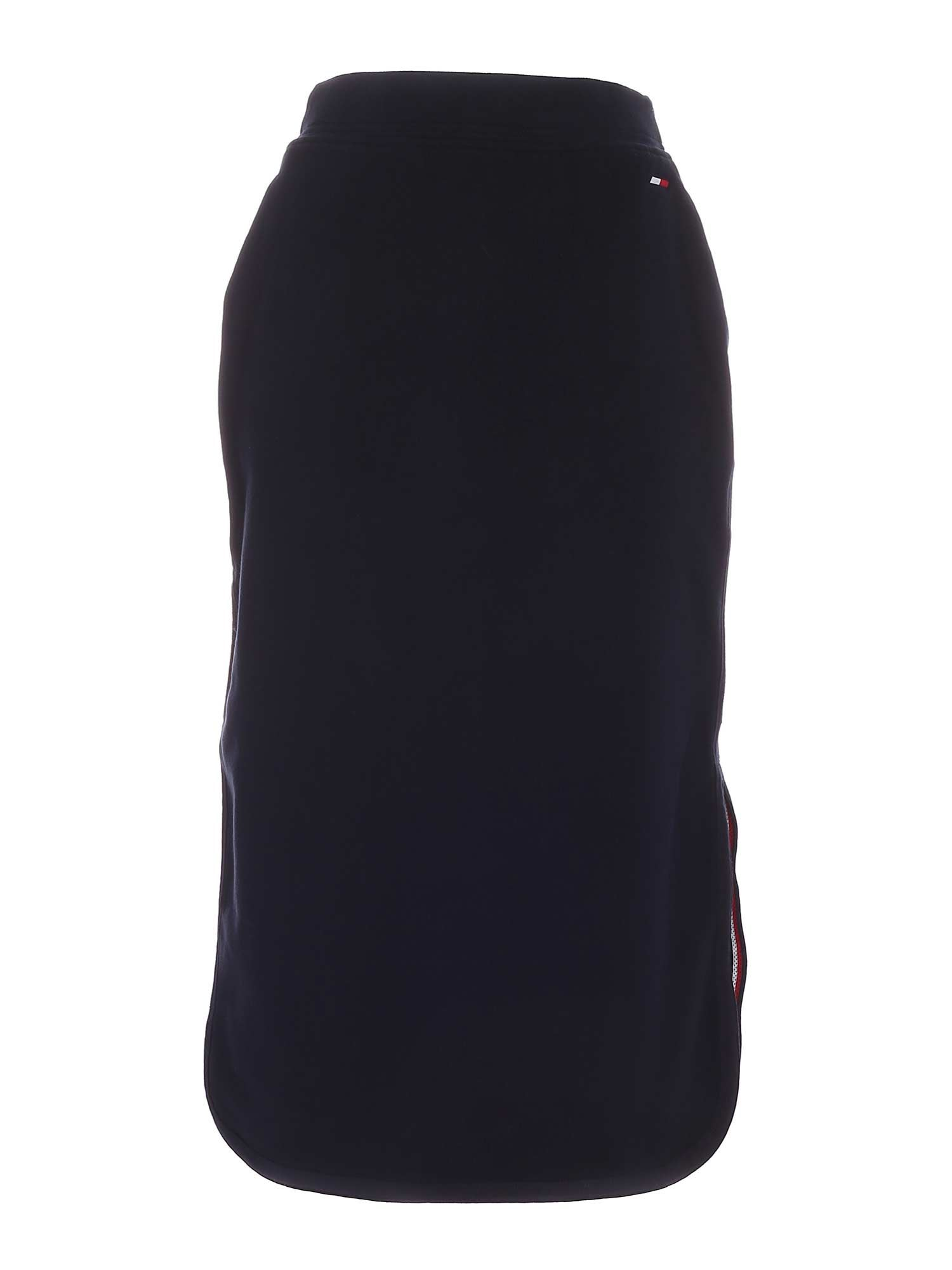 Tommy Hilfiger LOGO DETAIL MIDI SKIRT IN BLUE