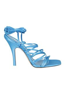 The Attico - Satin and leather sandals in light blue
